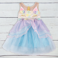 CONICE NINI Baby Girl Summer Clothes Blue Pink Purple Mesh Unicorn Birthday Wedding Party Princess Dresses