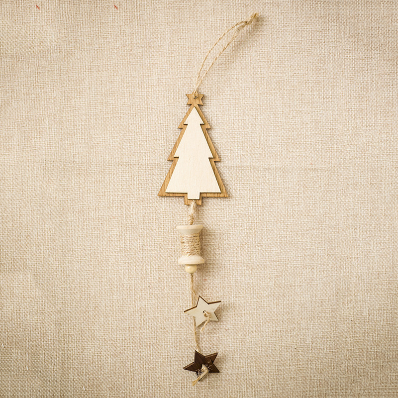 1 Pc Wooden Christmas Pendant Star Tree Shape Ornament Home Door Window Diy Hanging Decoration New Year Party Supply