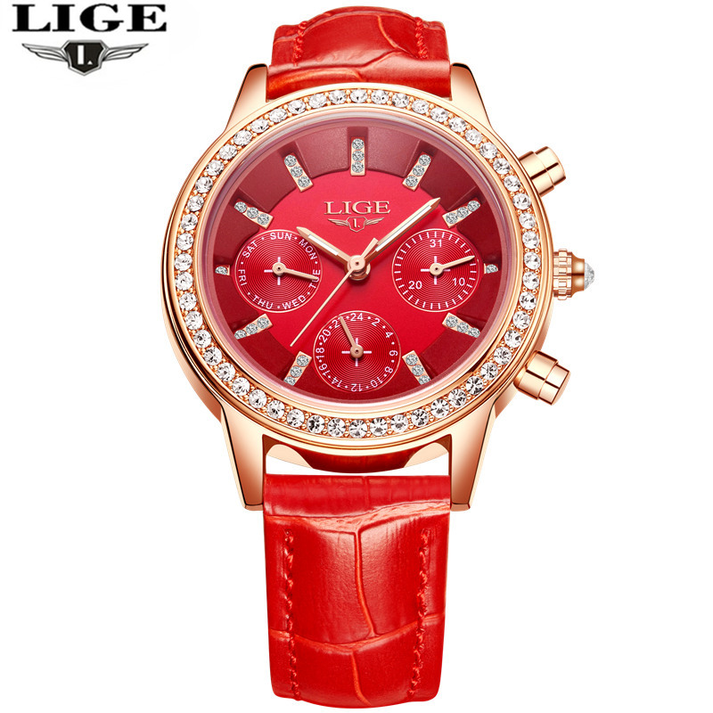 LIGE Luxury Brand Women s Fashion Casual Leather Quartz Watch Ladies Diamond Dress Watches Multi function
