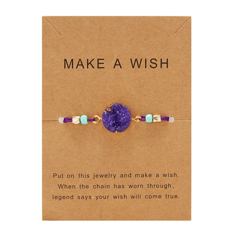 Rinhoo загадать пожелание Красочный натуральный камень тканый бумажный браслет карта Регулируемый счастливый красный String браслеты Femme модные ювелирные изделия - Окраска металла: 7