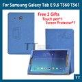 T560 чехол высокое качество искусственная кожа чехол для Samsung Galaxy Tab E T560 T561 9.6 планшет чехол + защитные пленки + стилус