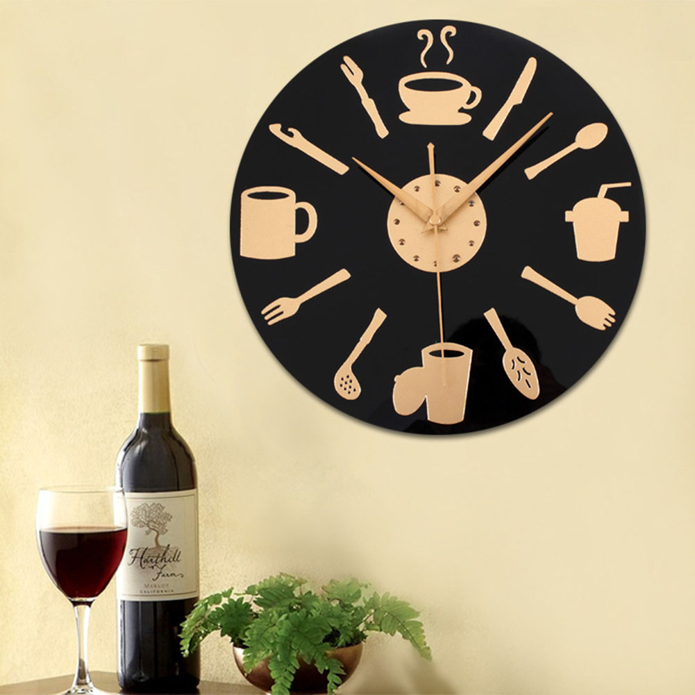Creative Kitchen Wall Clock Knife & Fork Spoon Antique Wall Watch ...