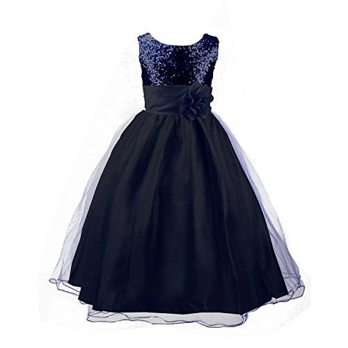 Little Girls Sequin Dress Sleeveless Wedding Flower Girls Tulle Dresses Party Ball Gowns