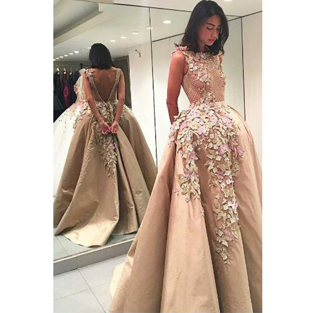 Haute Couture Long Prom Dresses 2017 Top Quality Champagne Hand Made Flowers  Elegant Evening Dress Ball Gown Formal Party Gowns 3f10969d2982