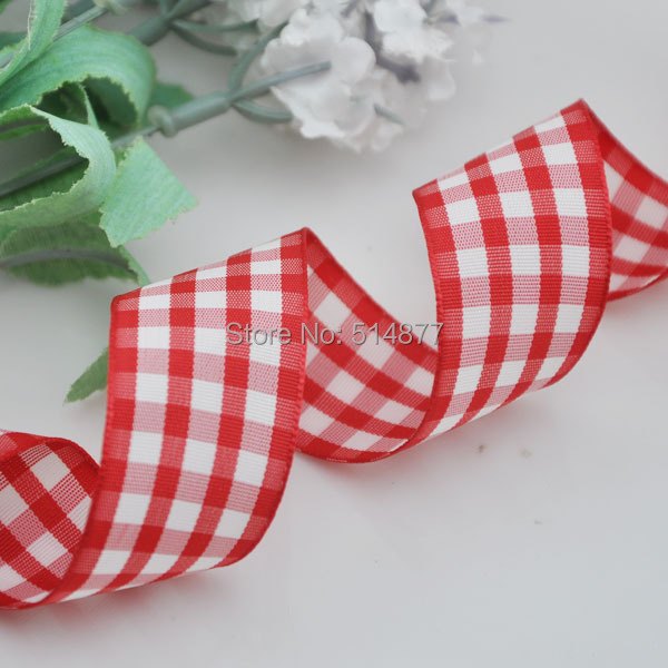 1 25mm Red Color font b Tartan b font Plaid Ribbon Bows Appliques Sewing Crafts 10Y