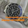 Personalizado Logotipo Da Marca Top Mens Relógios De Luxo GMT Mão Mecânico Automático Homens Relógio de Pulso de Aço Inoxidável Bezel Ceramic