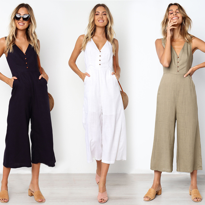 Summer Loose Cotton Button Pocket Deep V neck Wide Leg   Jumpsuits   For Women 2019 Rompers Womens   Jumpsuit