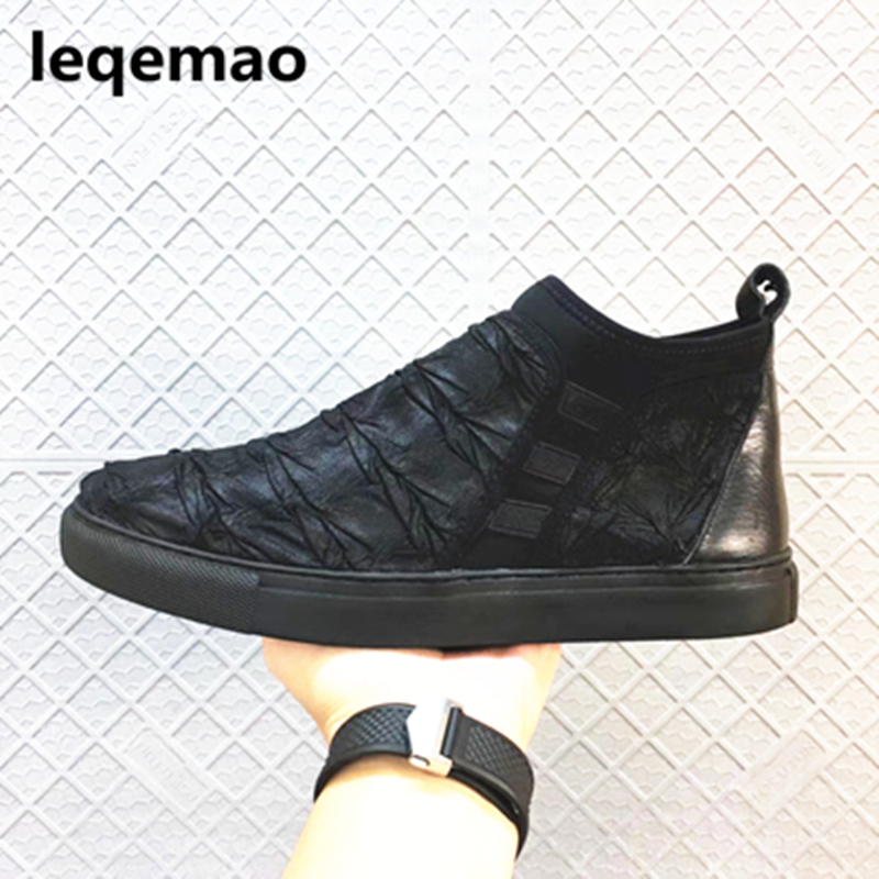 Hot Sale New Arrival Spring Autumn Brand Slip-on Men Casual Shoes Special Genuine Leather High Quality Man Shoes 38-44 Black 2016 new men s leather shoes men spring autumn men s oxford shoes flats hot sale tide brand men shoes