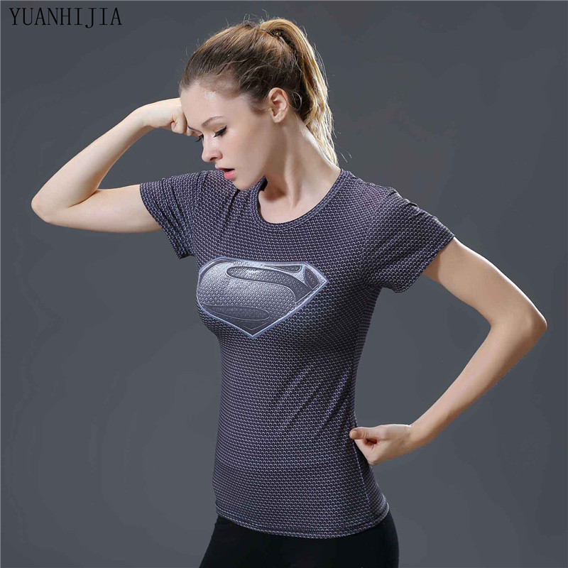 Compression T Shirt Women Superhero Superman Captain America/Spiderman/Batman Tops Quick-drying Tight bodybuilding Wear Woman