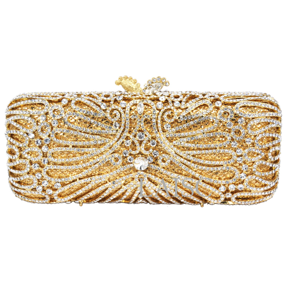 ФОТО Long Gold Clutch bags Women Luxury crystal Prom handbags Ladies Evening Bag Rhinestones pochette Party Purse Day Clutches SC233
