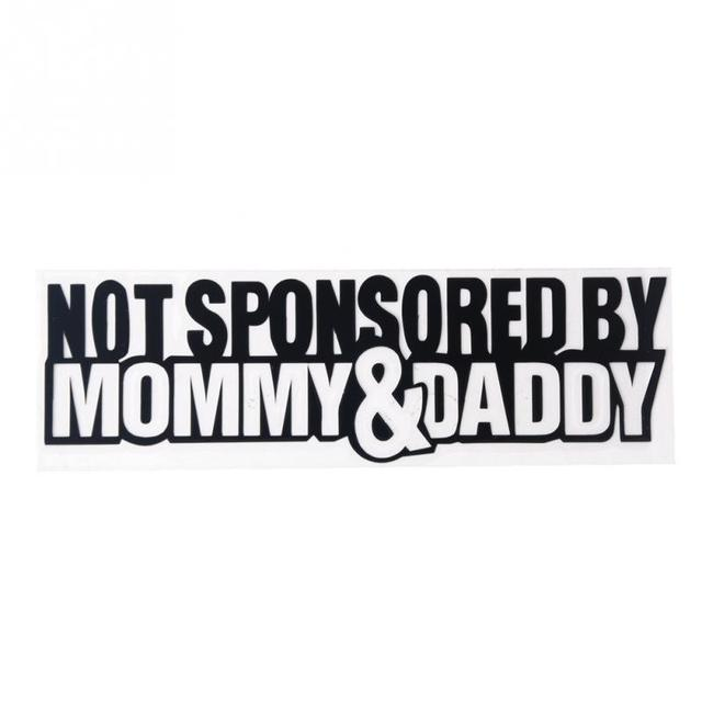 New 17 55 5cm not sponsored by mommydaddy funny personality reflective stickers car decals silver