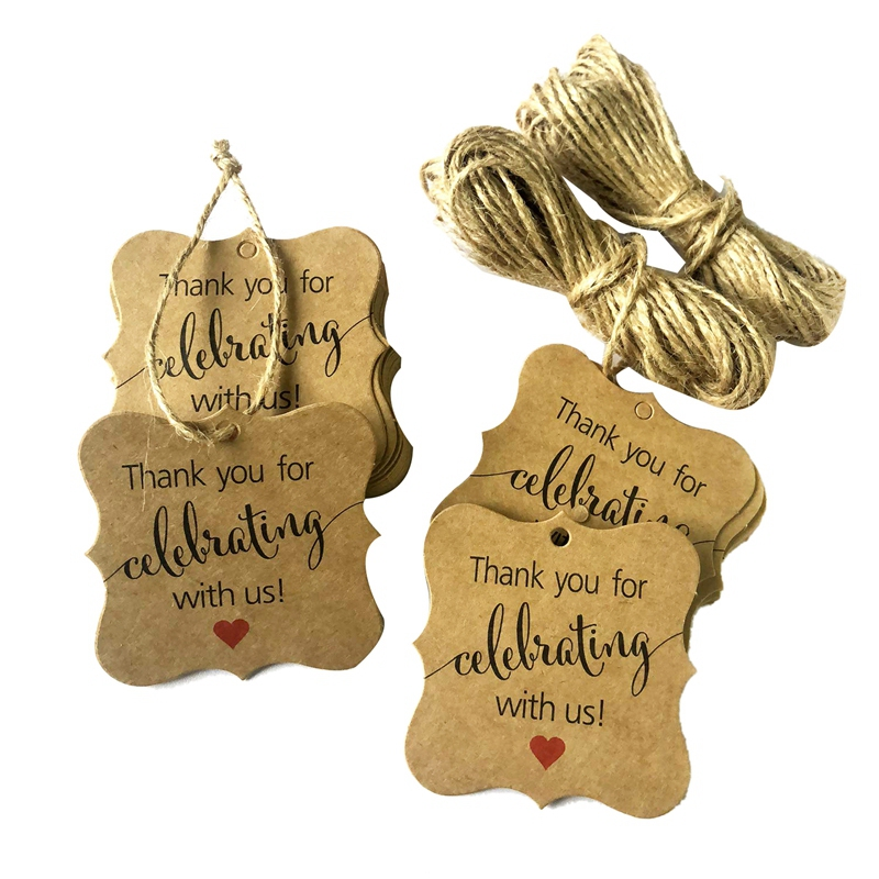 100 Pcs Thank You for Celebrating with Us Tags Kraft Paper Gift Wrap Tags with Natural Jute Twine for Baby Shower,Christmas,We(China)
