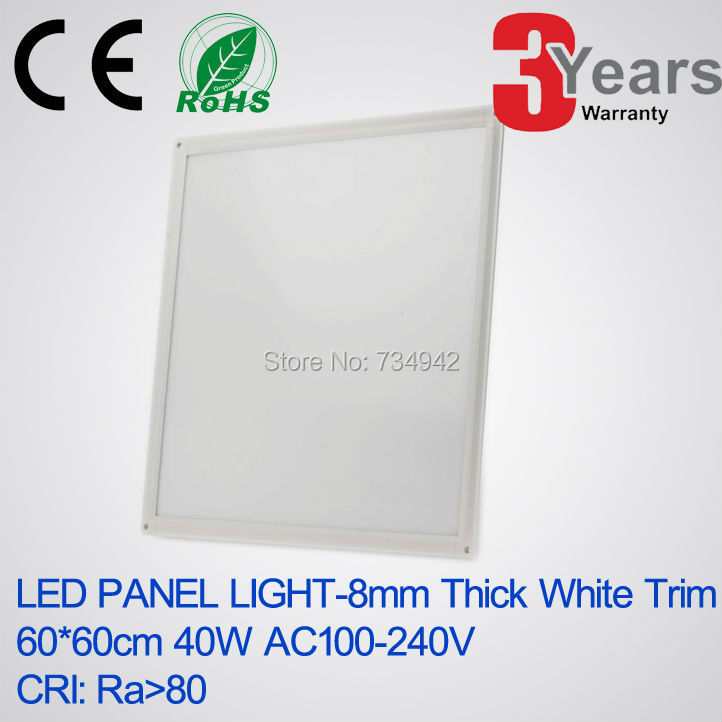 AC100-240V 8mm Thick 600x600(mm) 40W White Trim LED panel light High CRI>80 LED Panel 3 Years Warranty Ceiling Mounting Type