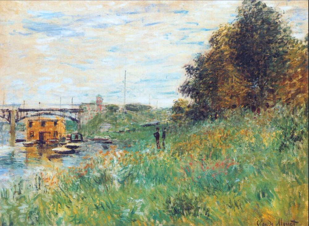 High quality Oil painting Canvas Reproductions The Banks of the Seine at the Argenteuil Bridge By Claude Monet hand painted