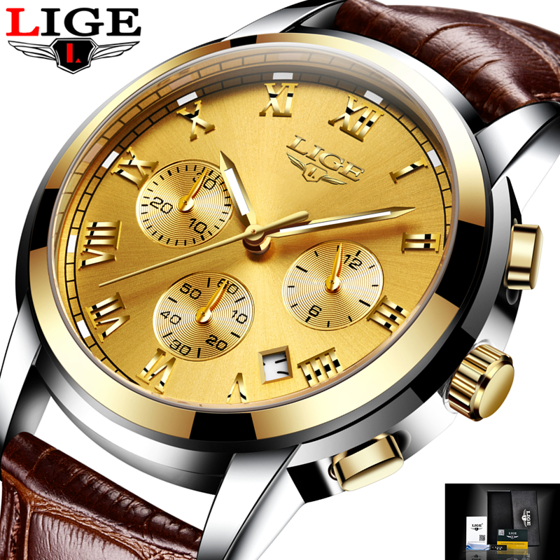 LIGE Large dial design Chronograph Sport Mens Watches Fashion Brand Military waterproof Quartz Watch Man Clock Relogio Masculino