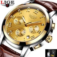 LIGE Gran dial diseño Deporte Del Cronógrafo Para Hombre Relojes Militares de Marca de Moda a prueba de agua Reloj de Cuarzo Hombre Reloj Relogio masculino