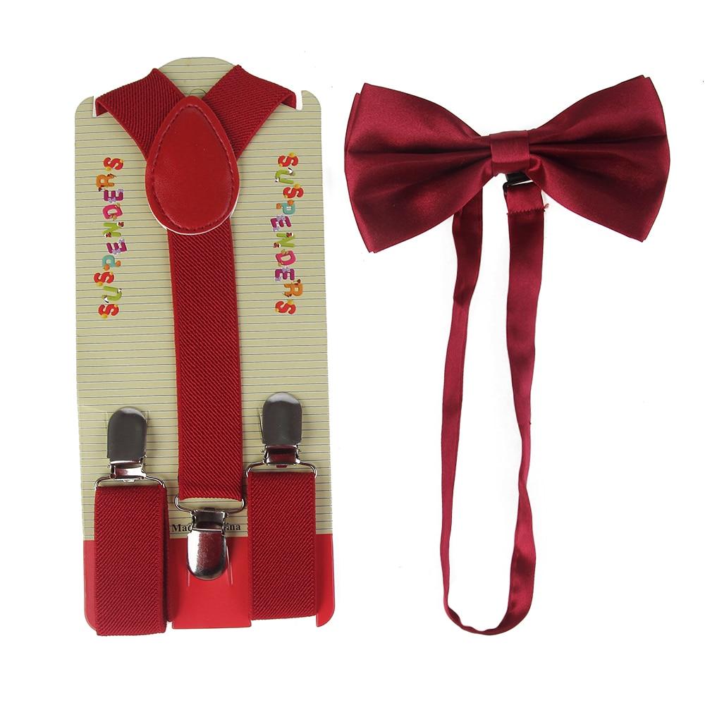 Children Pure Color Suspenders Bowtie Set Baby Boys Girls 2 5cm Wide Red Suspenders Bow Tie Kids Braces in Men 39 s Suspenders from Apparel Accessories