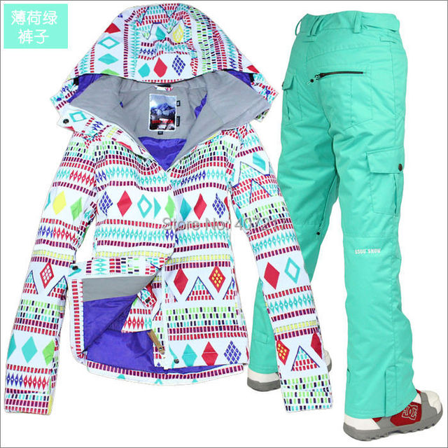 ac60c655ff 2017 womens ski suit ladies snowboarding suit skiing suit women white with colorful  rhombus jacket and mint green pants skiwear