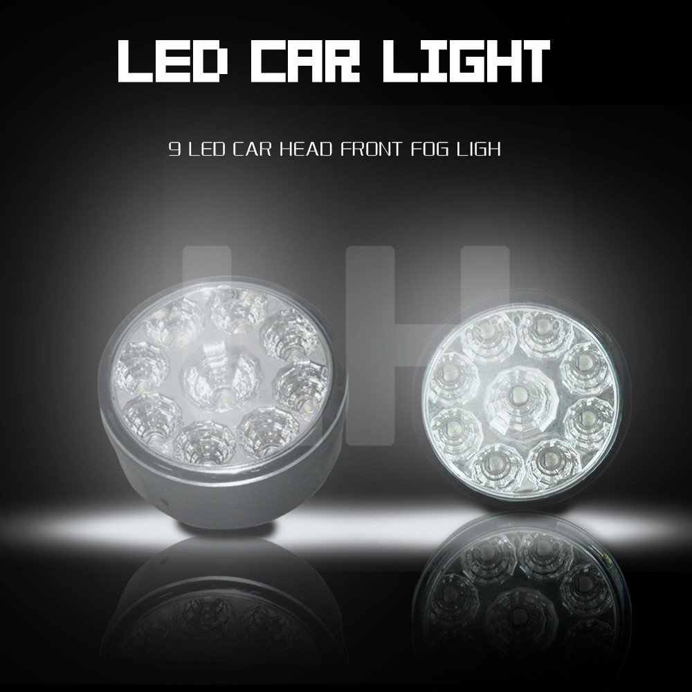 2 X Super Bright White 9 LED Head Front Round Fog Light for all Car DRL Off-road Lamp Daytime Running Lights Parking Lamp цены