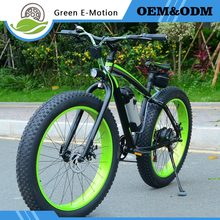Snow Electric  mountain bike 36v 500w 10ah Lithium Battery 9 Speed electric bicycle Aluminum body Black and Green