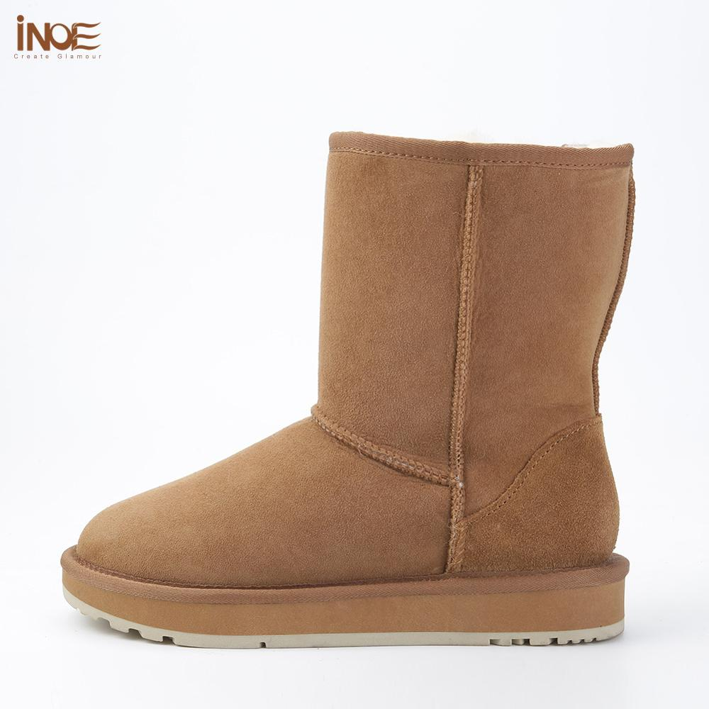 Image 3 - INOE Basic Winter Snow Boots for Women Sheepskin Suede Leather 