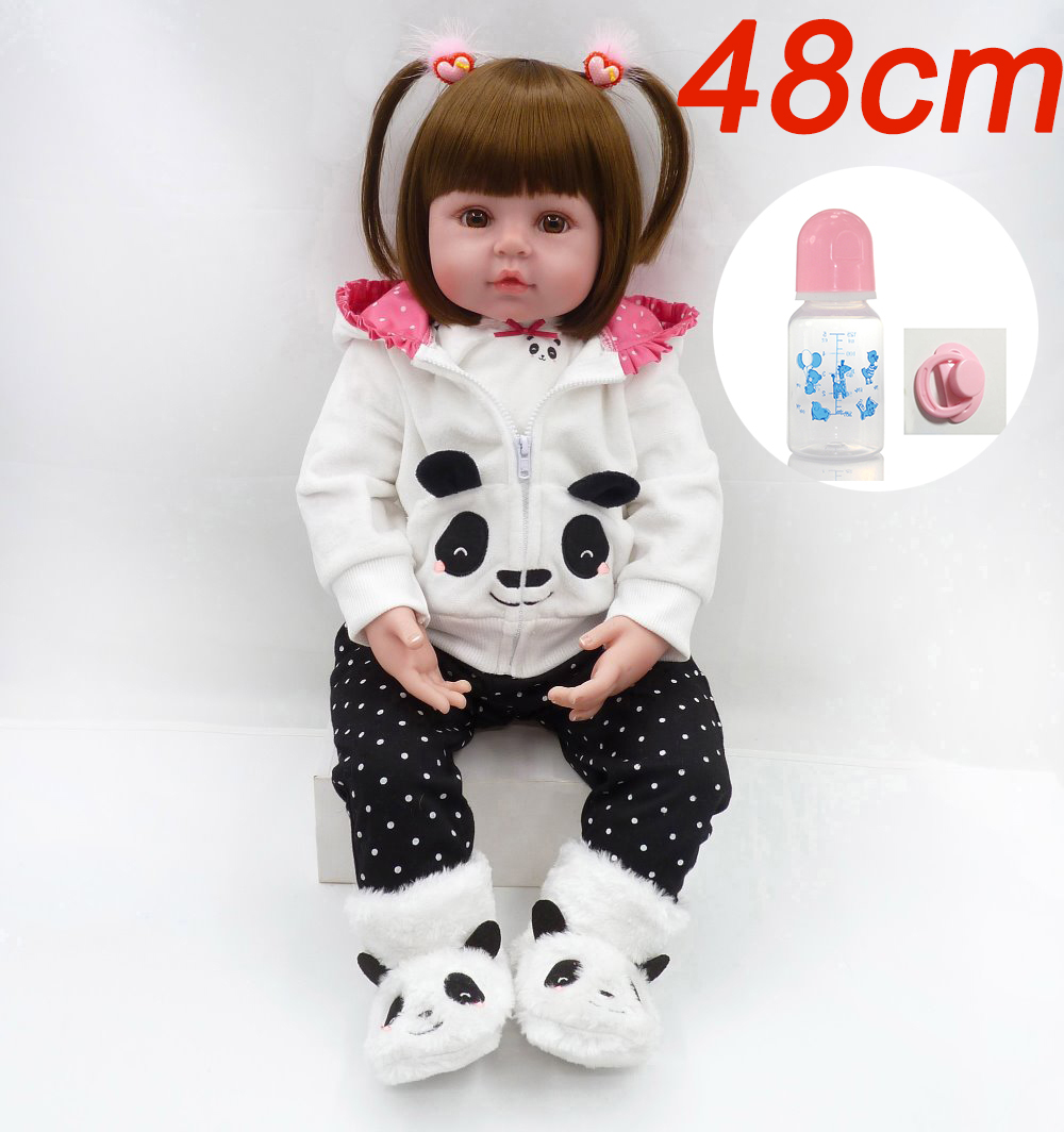 Boutique Cute Panda bebe rebon doll 48cm Baby girl Dolls 3/4 Silicone Boneca Reborn Brinquedos Bonecas Children's day gift toy largest size 95cm panda plush toy cute expression panda doll birthday gift w9698