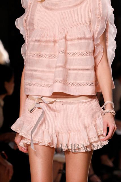Isabel Rosa Volantes de Encaje de Algodón de Color Rosa de Seda Cortos Faldas Fashion Show BI00161