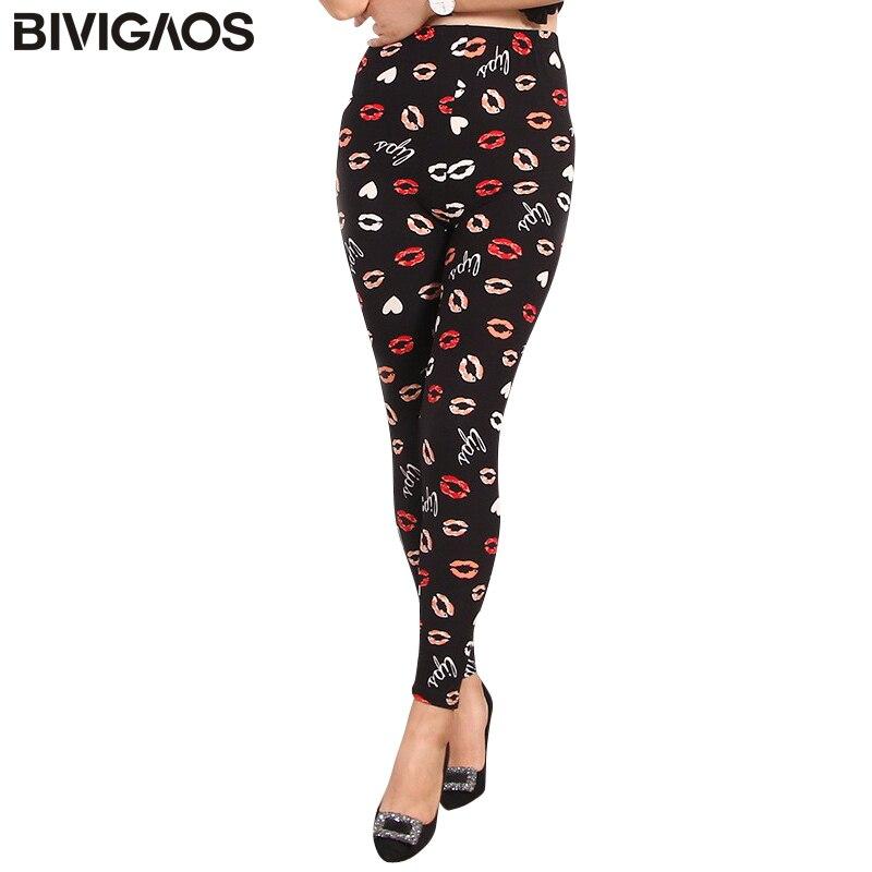 BIVIGAOS More Design Leggings Womens Cobweb Elephant Plaid Print Leggings Ankle pencil pants SUEDED Elastic Casual Legging Women
