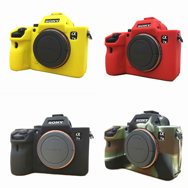 premium selection 1d4f8 e3175 US $9.56 14% OFF|Silicon Soft Camera Video Bag Silicone Case For Sony A7  III A7R3 A7 mark 3 A7 III Rubber Camera Case Protective Body Cover Skin-in  ...
