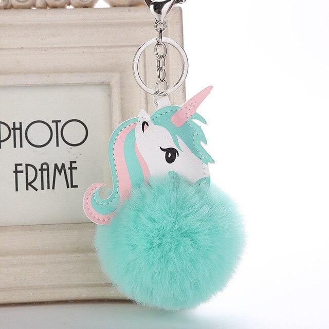Милый мультфильм красочный шарик для волос брелок для ключей с единорогом для женщин девушка сумка держатель PU Лошадь Единорог