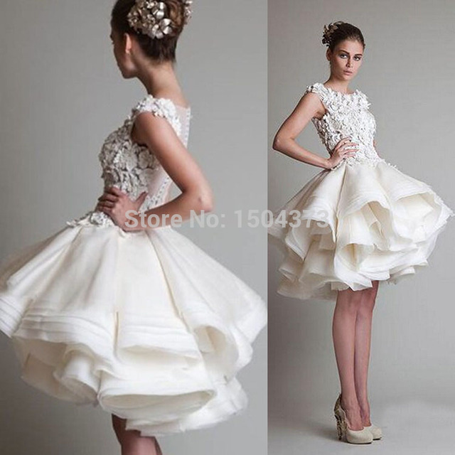 Free Shipping Ivory Lace Appliques Short Prom Party Dresses 2014 Puffy Skirt Organza Bridesmaid Dresses Cheap Price High Quality