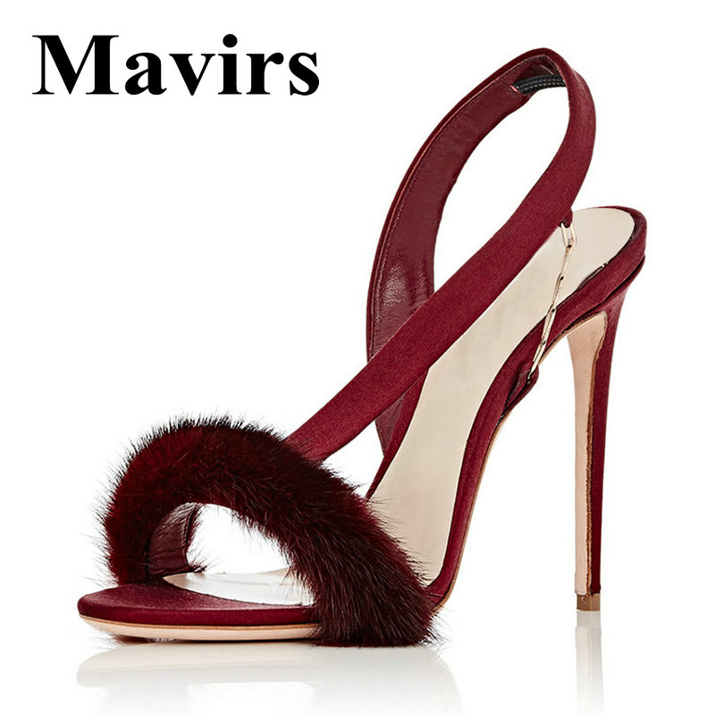 MAVIRS мехом на высоком каблуке сандалии женщина насосы 12см туфли серый черный коричневый Красный Гладиатор Sandalias лето Размер ЕС 35-46