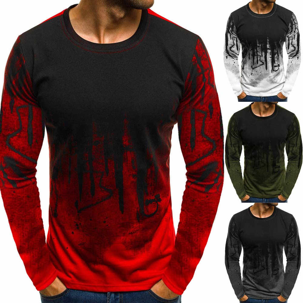 camiseta t-shirt Men Male Gradient Color Cotton Long-Sleeve tshirt streetwear Blouse Tee Shirt Top Casual gym t-shirt men 2019