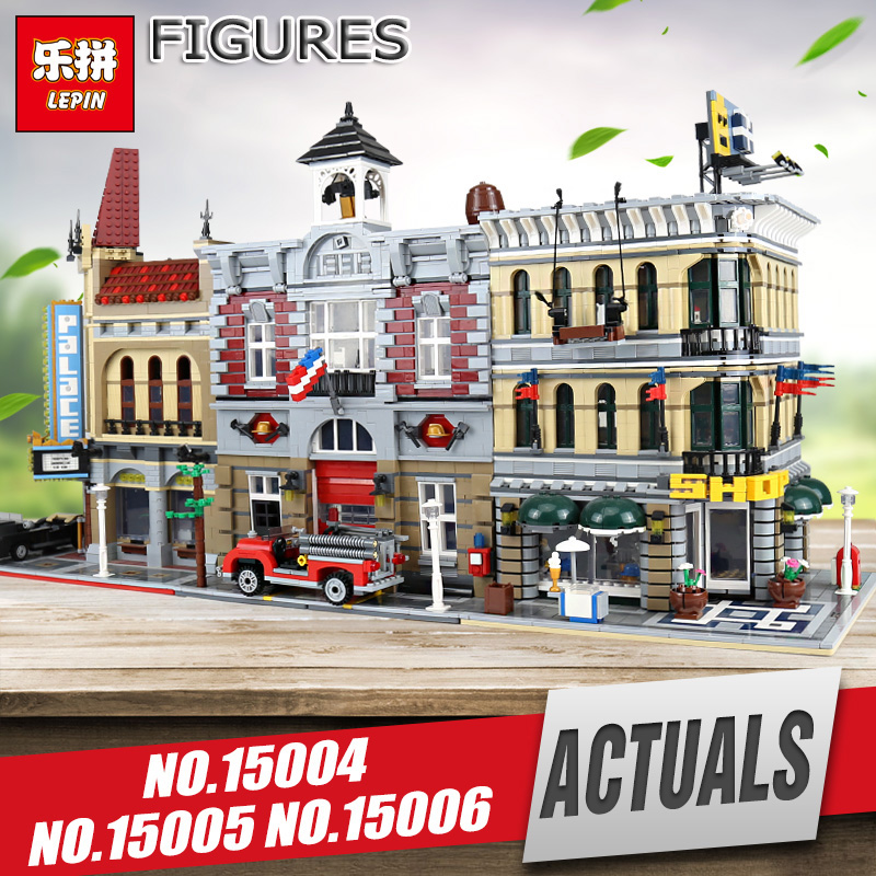 Lepin 15004 15002 City Street Fire Brigade Model Educational Building Blocks Bricks Compatible with Legom 10197 for children lepin city town city square building blocks sets bricks kids model kids toys for children marvel compatible legoe