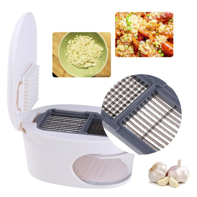 3 in 1 Plastic Garlic Press Presser Grater Dicing Slicing and Storage Kitchen Fruit Vegetable Cooking Tools