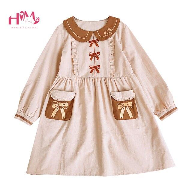 a68c7e41d75 Japanese Lolita Kawaii Girls Dress Autumn Soft Mori Girl Vintage Long Sleeve  Linen Vestidos Cute Bow