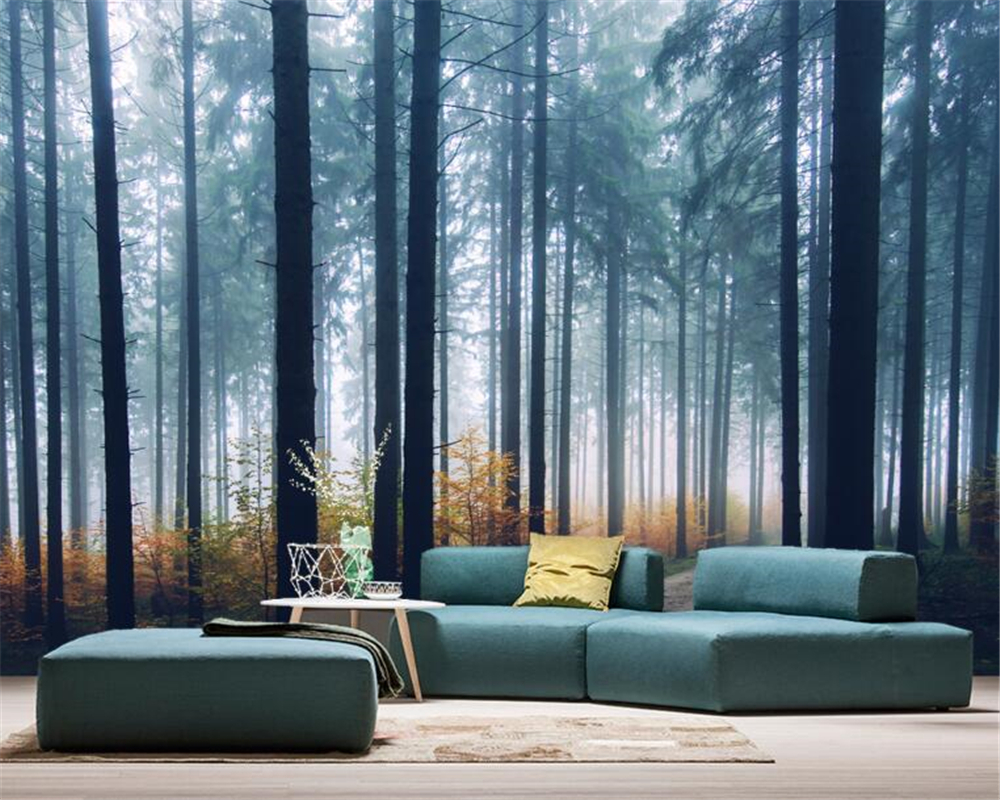 Beibehang Custom Photo Wallpaper Dreamy Blue Foggy Forest Jungle Living Room TV Sofa Background Wall 3d Wallpaper Papel Pared