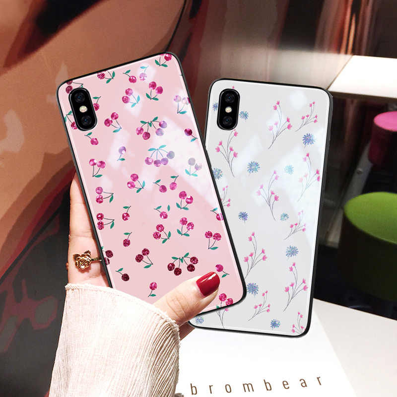 Yagoo Flower Phone Case For Huawei P30 Pro Mate 20 X 10 9 Lite Coque P20 P10 P9 Plus Glass Hard Cover Girls Silicone Shell Funda