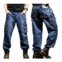 2018 Summer multi pocket Overalls Men's jeans Men's Loose Straight Large size 46 wear resistant Denim pants Color Black / Blue