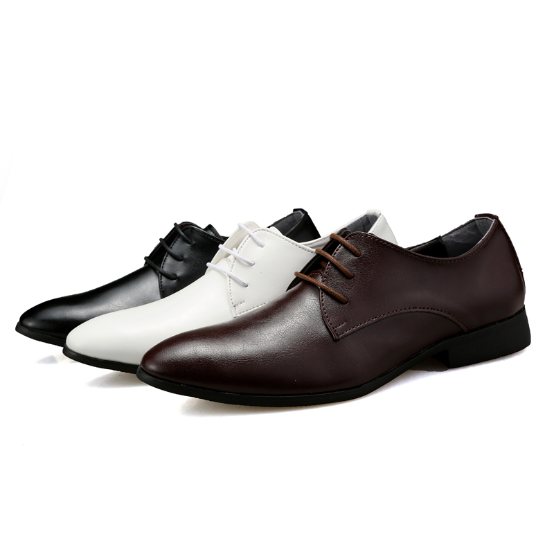 cheap classic business leather shoes black brown white