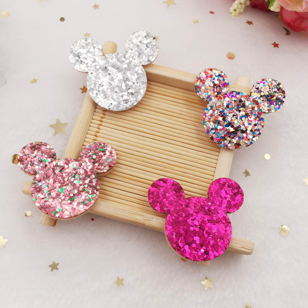 10 x 28MM SEQUIN MICKEY MINNIE MOUSE HEAD APPLIQUE HEADBANDS HAIR BOWS CRAFTS