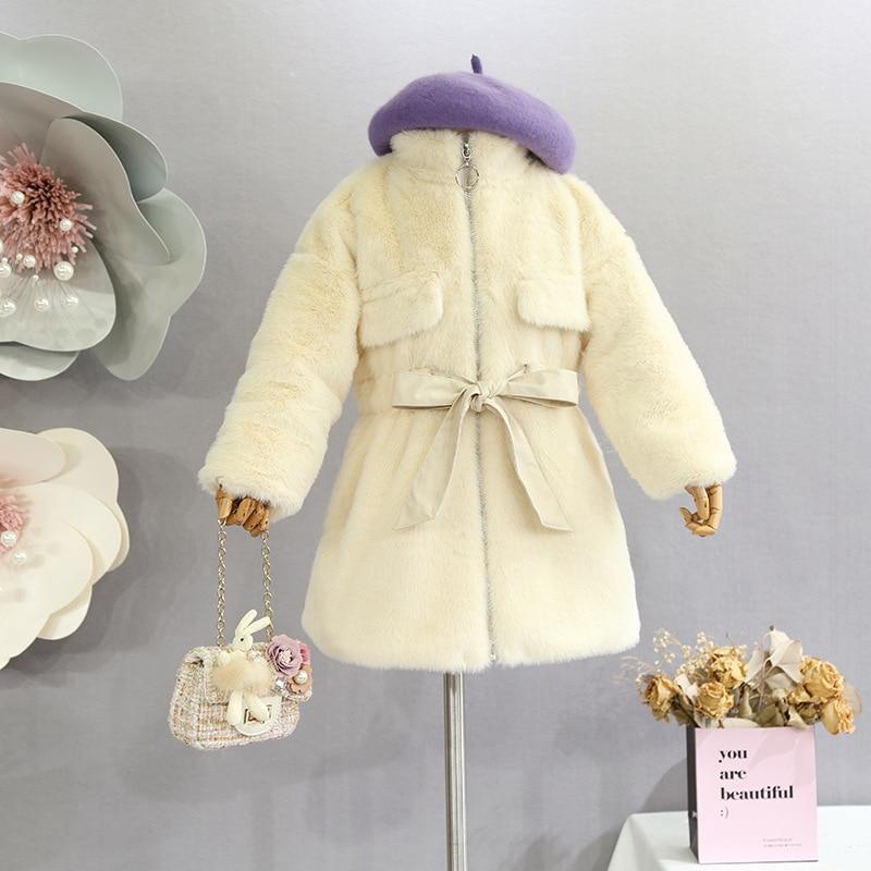 Children's clothing girls coat 2018 winter new of the imitation raccoon hair children's ocean waist waist fur coat baby jacket