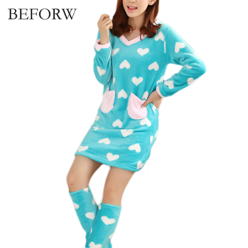BEFORW Striped Casual Women Pajama Flannel Long Sleeves Cute Pattern Women Sleepwear Home Clothhing V Neck Nightgrown Suit