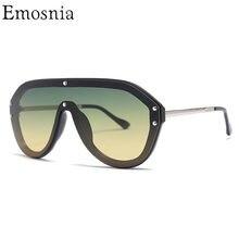 aeb0bae9d Emosnia خمر الطيار النظارات الشمسية 2019 النساء الرجال كبيرة إطار الظل  نظارات شمسية الايطالية العلامة التجارية