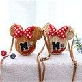 Minnie Mouse Saco de Vime Artesanal Dos Desenhos Animados Bolsa de Praia Bolsa de Ombro Saco Ocasional Do Vintage Balde das Mulheres Linda Bolsa de Palha Meninas