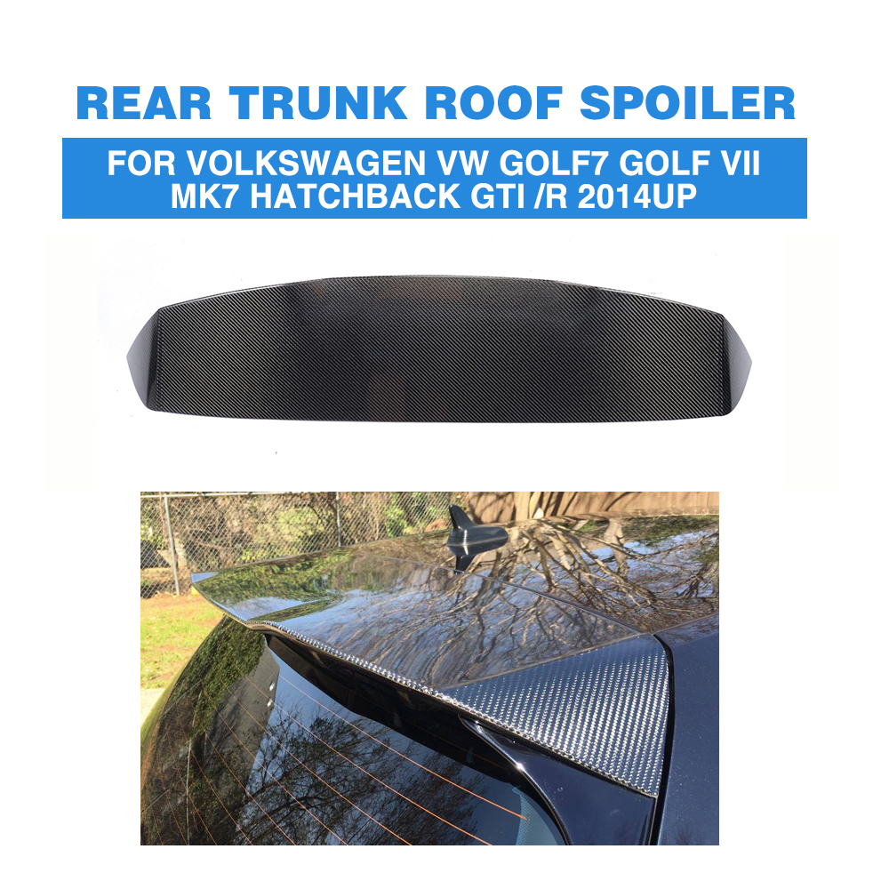 цена на Carbon Fiber Rear Roof Spoiler Windshield Wing for Volkswagen VW Golf 7 MK7 VII GTI / R 2014-2017 Hatchback Spoiler A Style