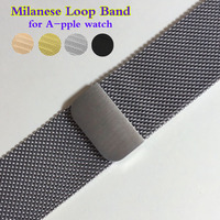 Milanese Loop Band For Apple Watch 42mm 38mm Link Bracelet Strap Magnetic Adjustable Buckle With Adapter