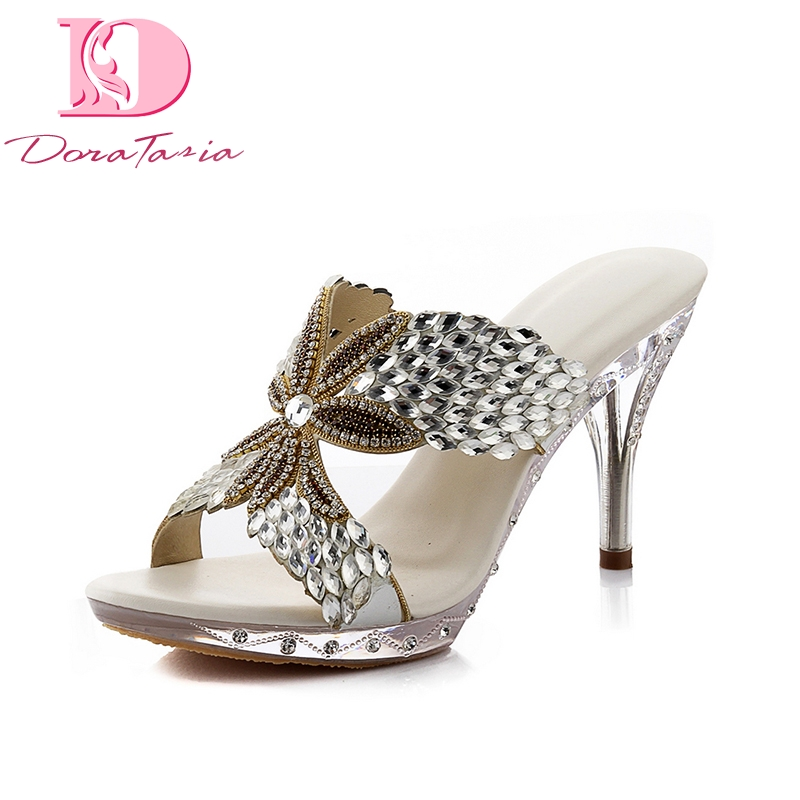 Doratasia New Brand Genuine Leather Thin High Heels Print Summer Mules Pumps Shoes Women Sexy Crystals Party Woman Shoes bonjomarisa 2018 summer brand sexy women mules print patent leather pumps crystal high heels party wedding shoes woman