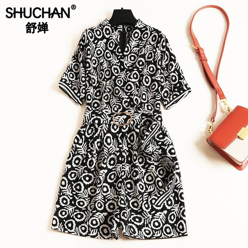 Shuchan mode Nova femme combishorts imprimer plage Style salopette femmes barboteuses mode coréenne femmes vêtements date 11331