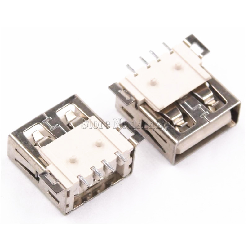 10PCS USB Type A Standard Port Female Solder Jacks Connector PCB Socket USB-A Type SMT 4Pin